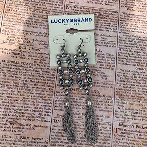 Lucky Brand Silver-Tone Bead Tassel Drop Earrings